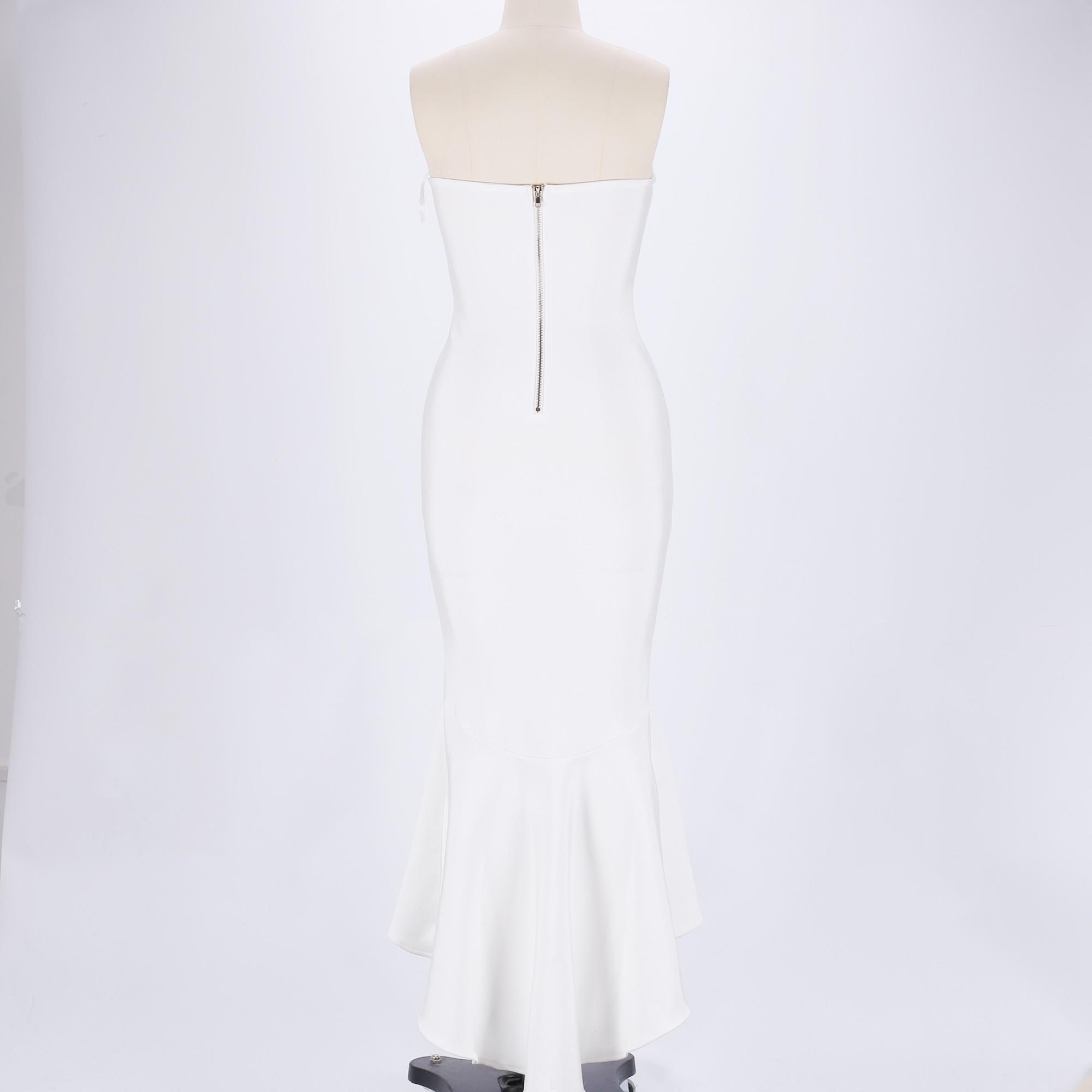 White Strapless Sleeveless Maxi Mermaid Dress Party Bandage Dress HB5354-White