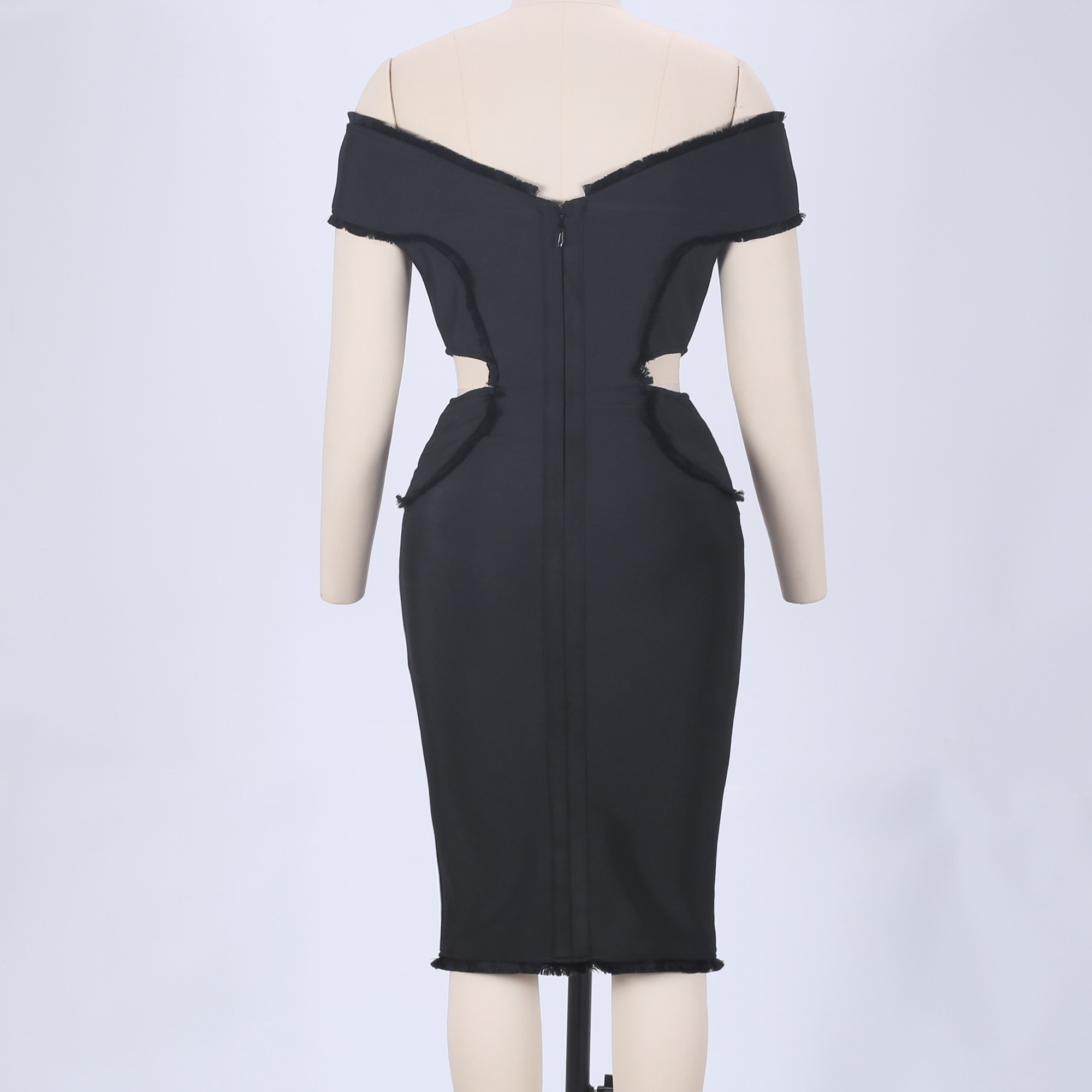 Black Off Shoulder Sleeveless Knee Length Cut Out Fashion Bandage Dress HB4337-Black