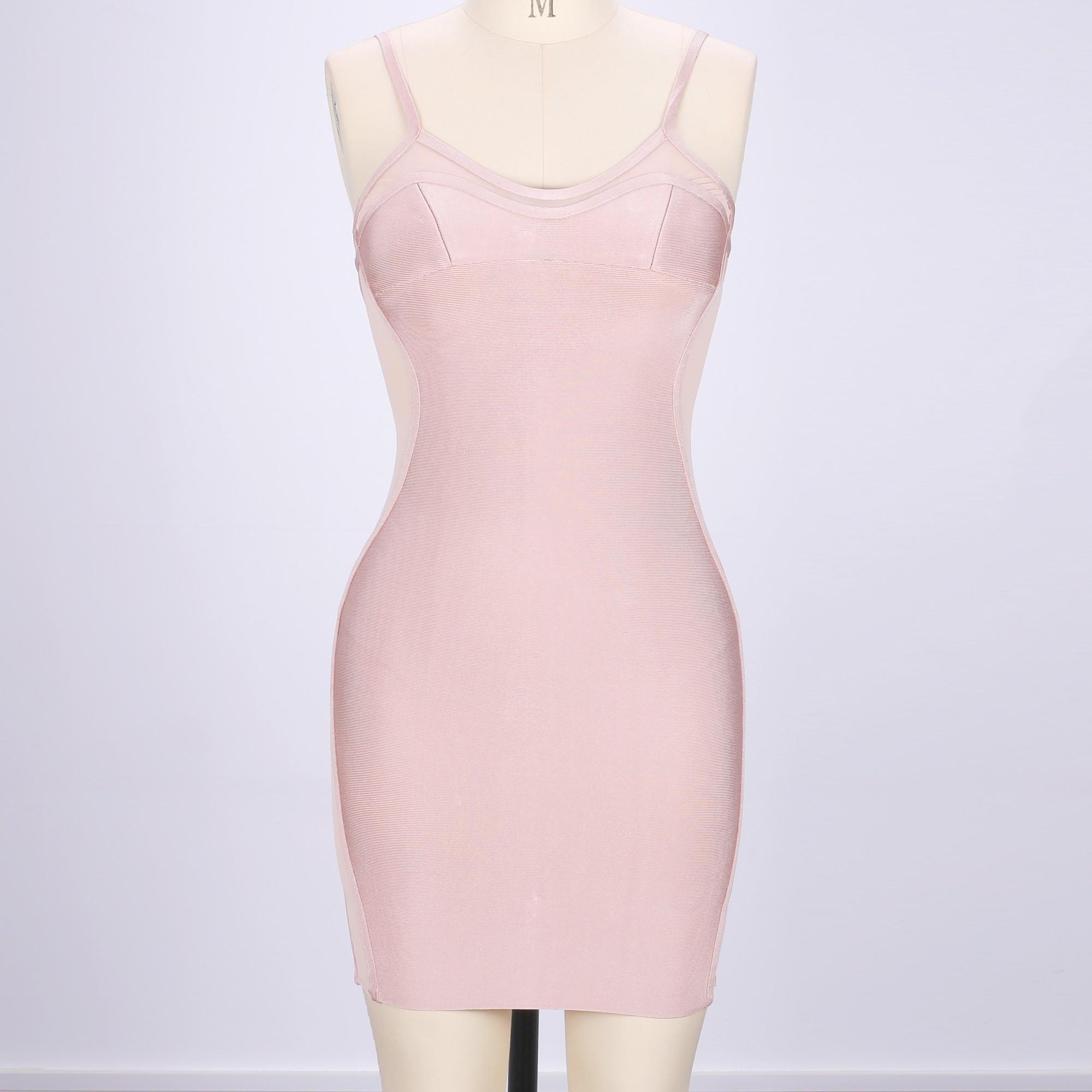 Pink V Neck Sleeveless Over Knee Side-Lucency Shoulder-Straps Party Dress HQ221-Pink