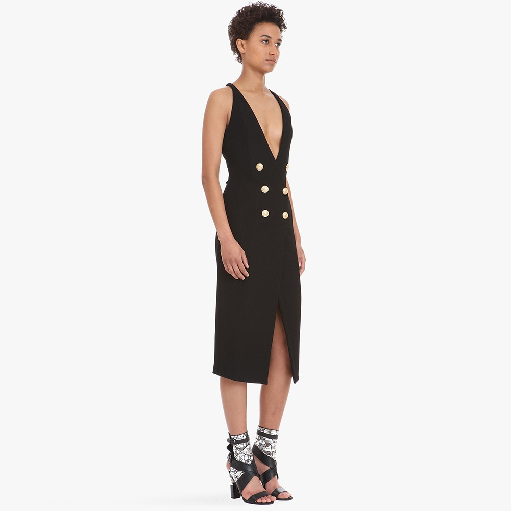 Black V Neck Sleeveless Over Knee Slitted With 6 Buttons Wholesale Bodycon Dress FLY009-Black