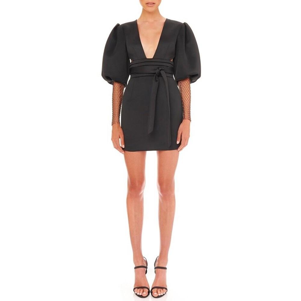 Black Tie Cut Out Mini Mid Sleeve V Neck Bodycon Dress FP19408-Black