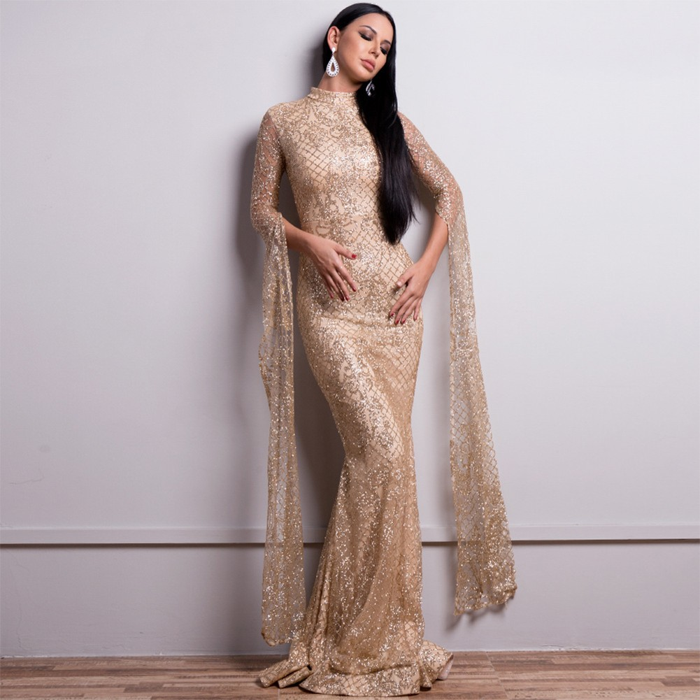 Gold Embroidery Sequins Maxi Long Sleeve High Neck Prom Dress FT9283-Gold