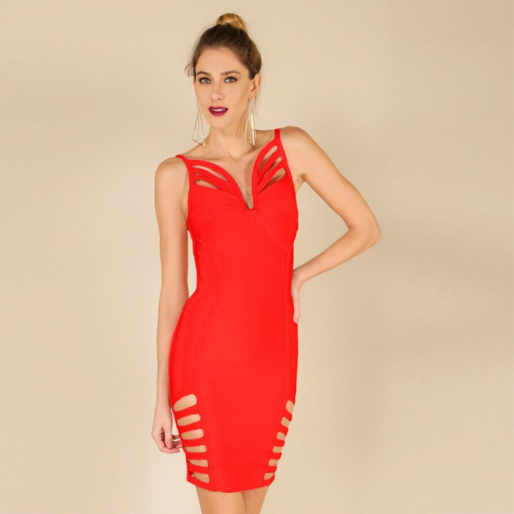 Rayon - Red Strapy Sleeveless Mini Side Cut Out Crossed Oem Bandage Dress H0002-Red