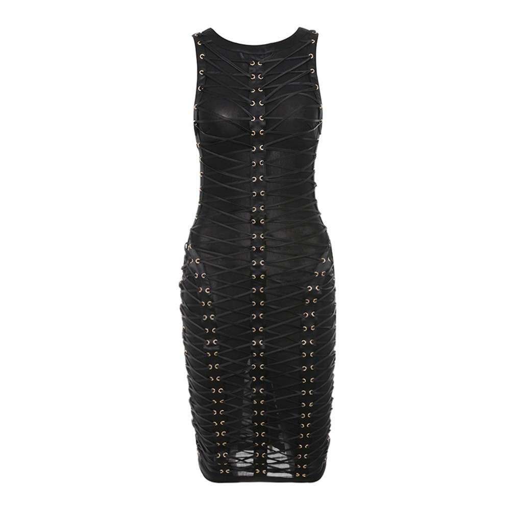 Rayon - Black Round Neck Sleeveless One Piece Lace Cross Lacing Mini Bodycon Dress H0005-Black