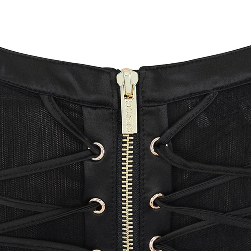 Rayon - Black Round Neck Sleeveless One Piece Lace Cross Lacing Mini Bodycon Dress H0005-Black