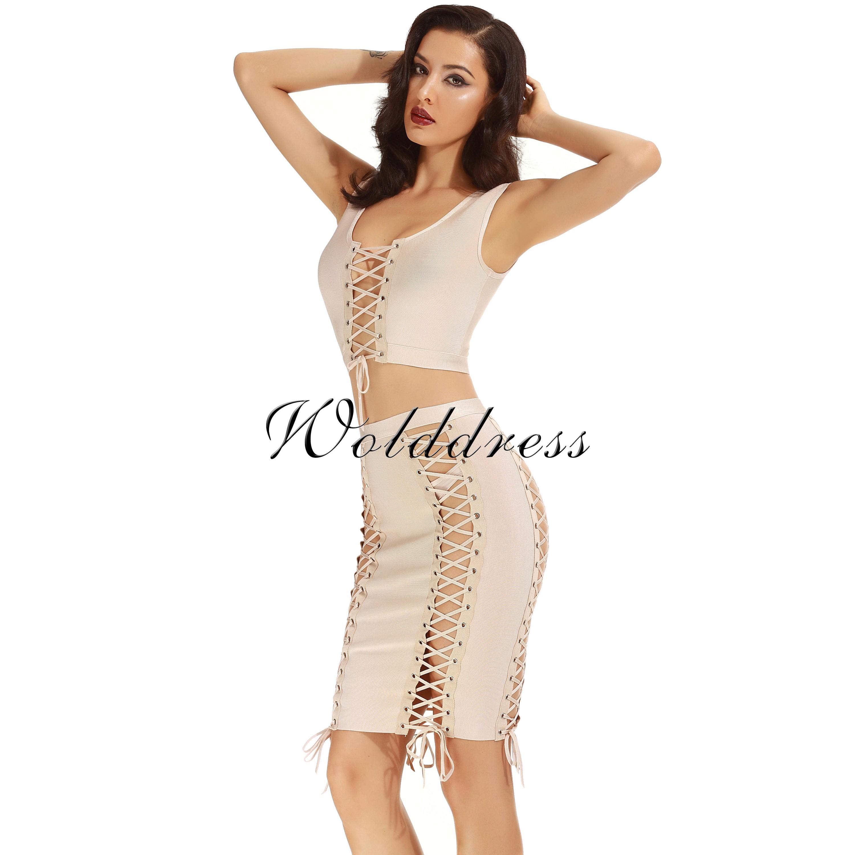 Rayon - Beige Halter Sleeveless 2 Piece Plain Cross Lacing Sexy Bandage Dress H0008-Beige
