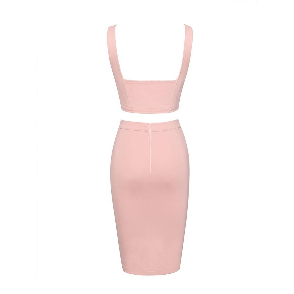 Rayon - Pink Halter Sleeveless 2 Piece Plain Cross Lacing Sexy Bandage Dress H0008-Pink