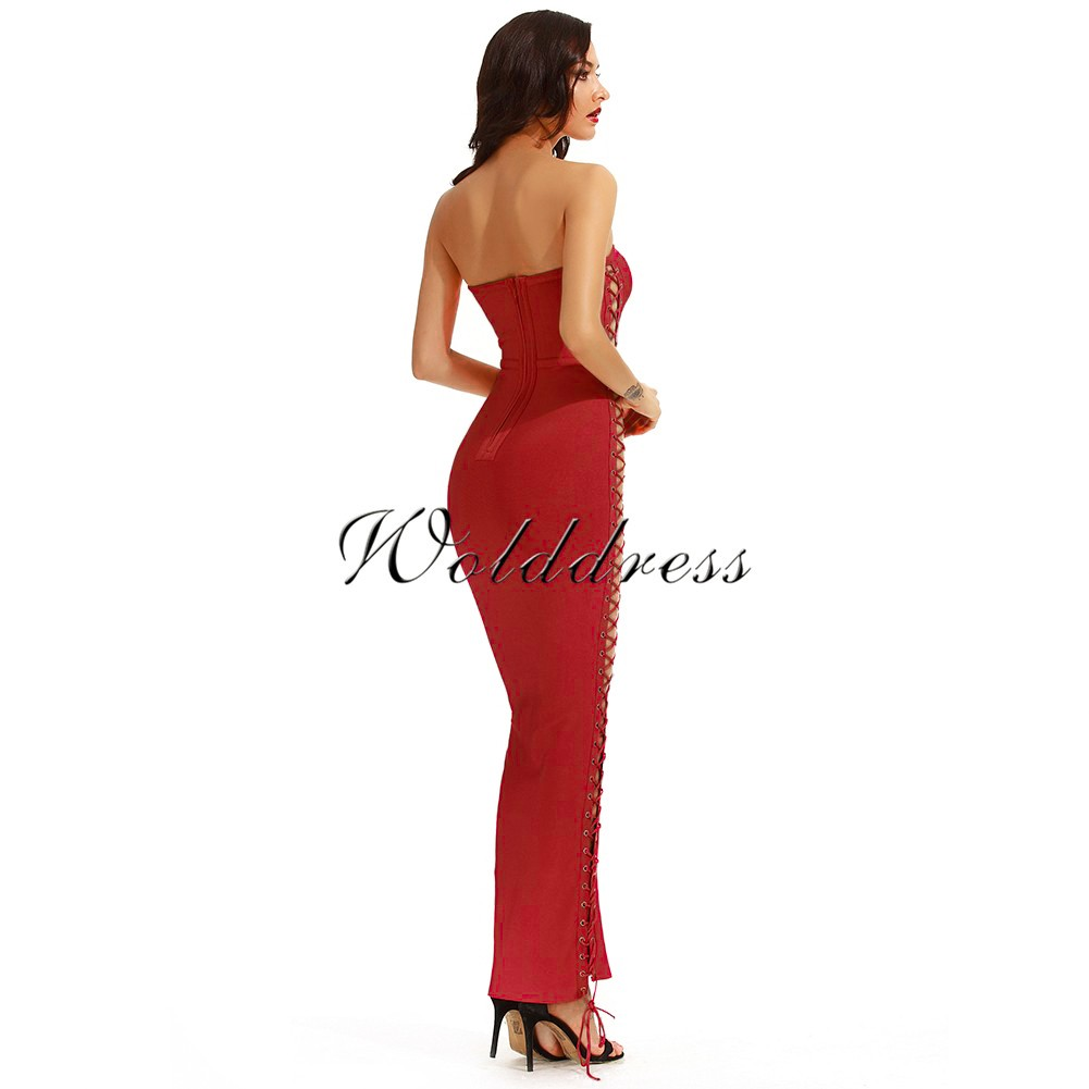 Rayon - Red Off Shoulder Sleeveless Maxi Cut Out Lace Up Evening Bandage Dress  H0014-Red