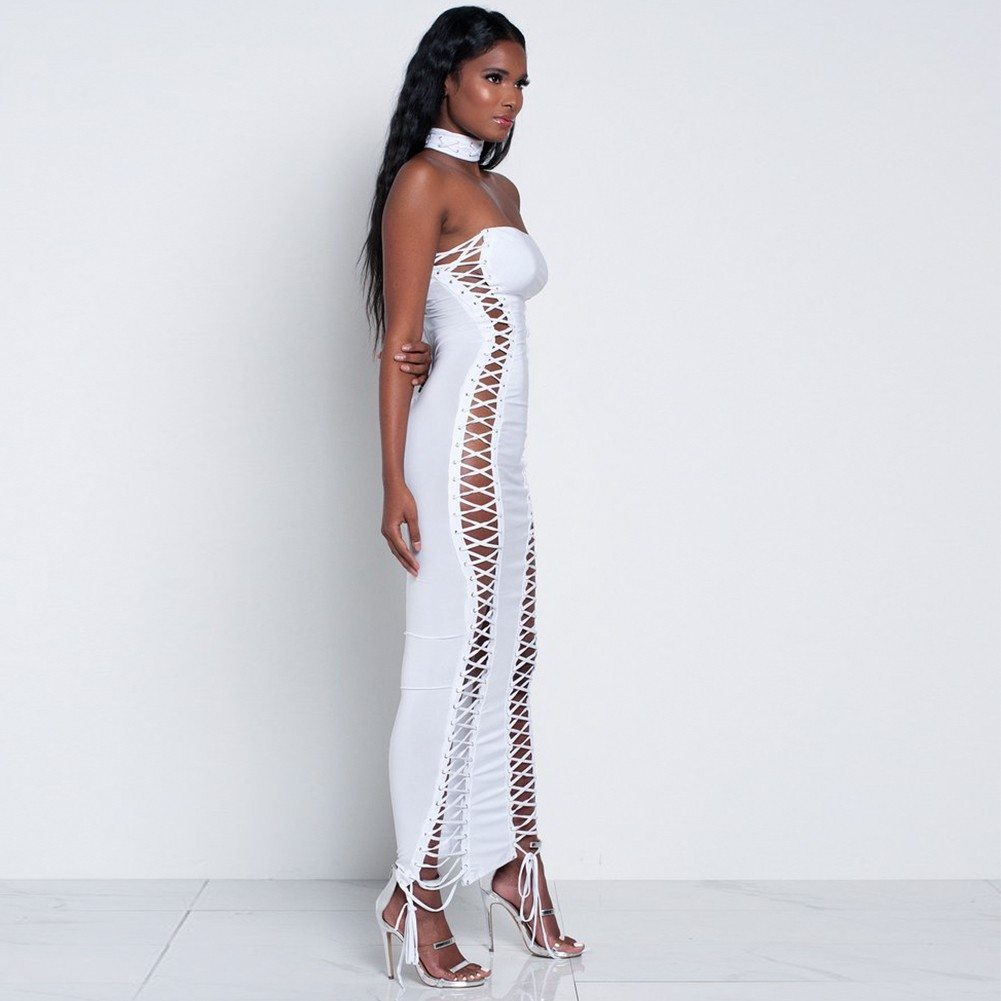 Rayon - White Off Shoulder Sleeveless Maxi Cut Out Lace Up Evening Bandage Dress  H0014-White