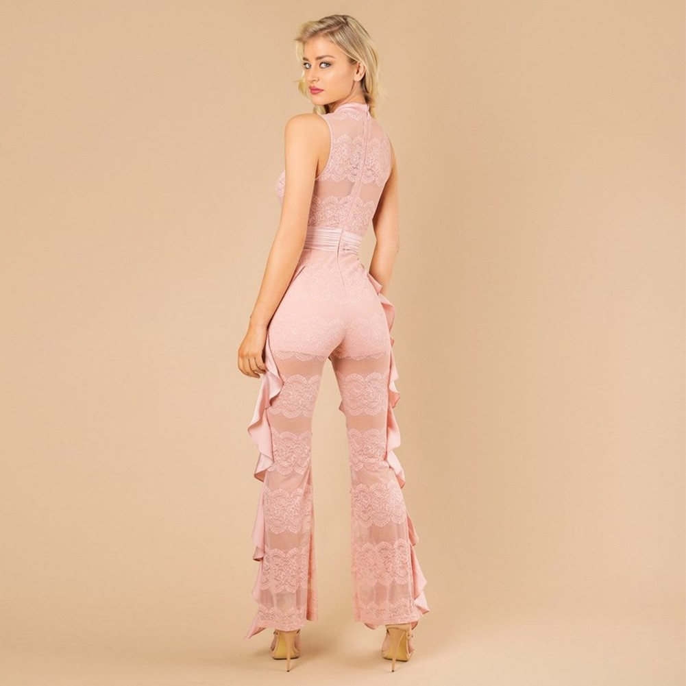 Rayon - Pink Round Neck Sleeveless Lace Ruffle Fashion Bodycon Jumpsuit H0015-Pink
