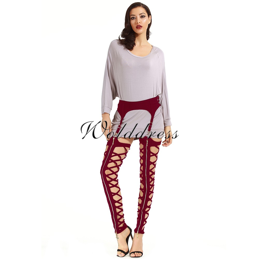 Rayon - Red Maxi Zipped Strapy Bandage Legging H0017-Red