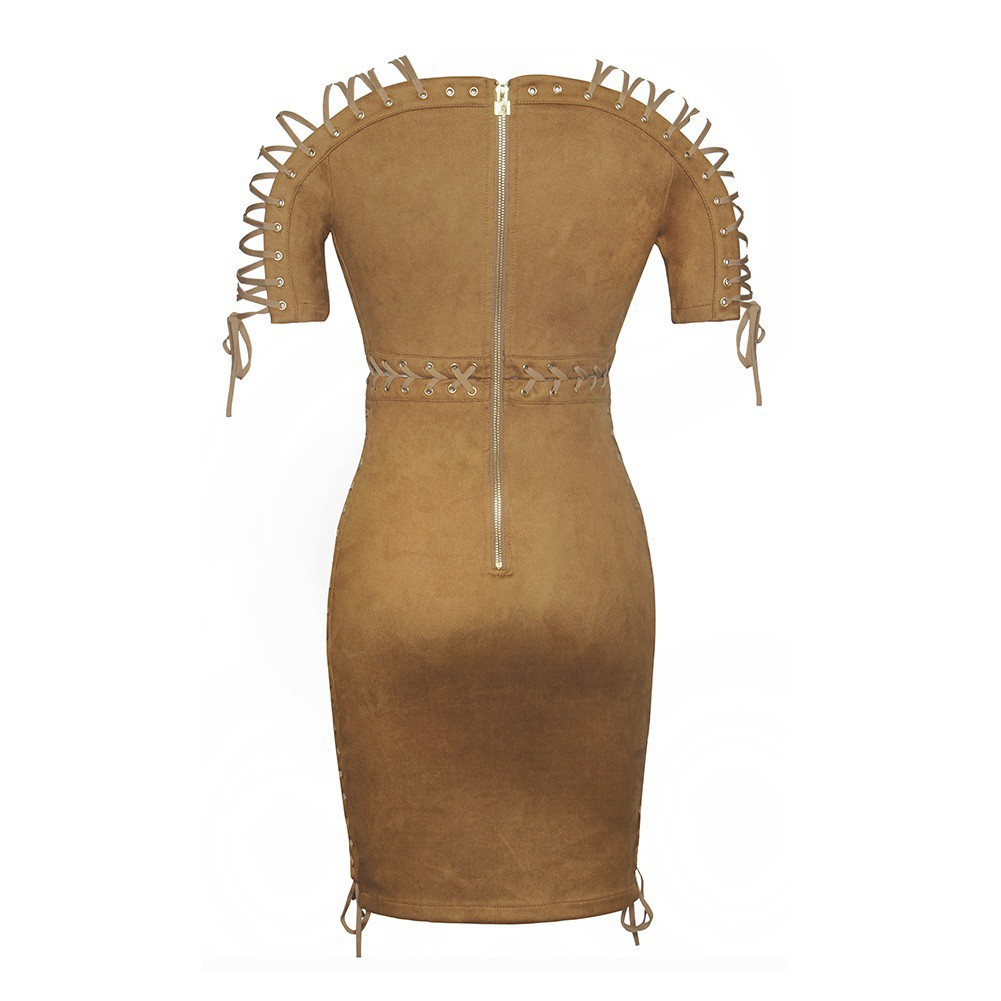 Rayon - Brown Off Shoulder Short Sleeve Above Knee Weaved Lace Up Sexy Bodycon Dress H0019-Brown