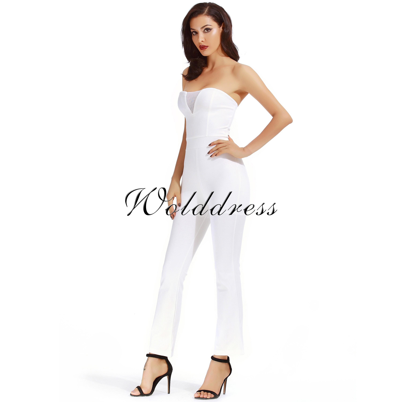 Rayon - White Strapless Sleeveless Maxi Mesh Wide Legs Fashion Bodycon Jumpsuit H0020-White