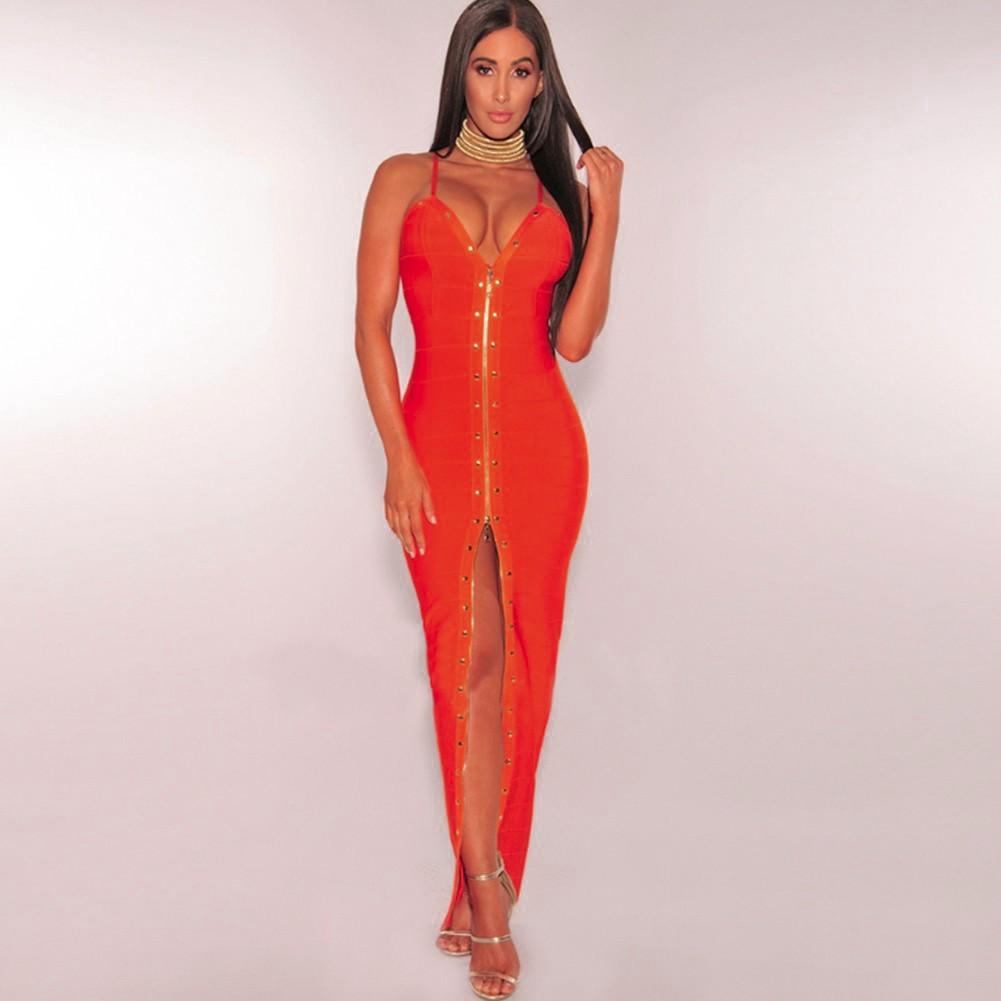 Rayon - Orange Strapy Sleeveless Maxi Beaded Front Slit Evening Bandage Dress H0031-Orange