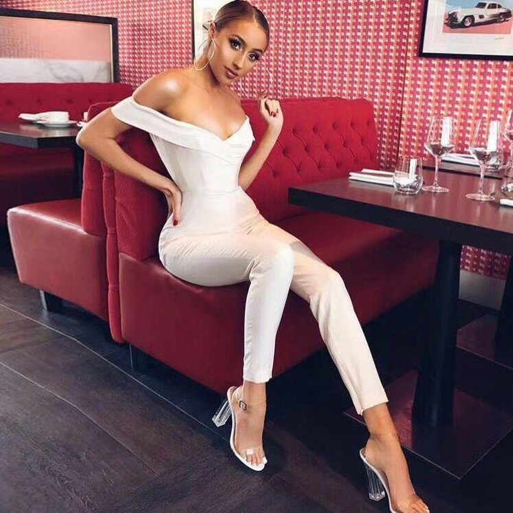 Rayon - White Off Shoulder Sleeveless Maxi Sexy Bodycon Jumpsuit H0032-White