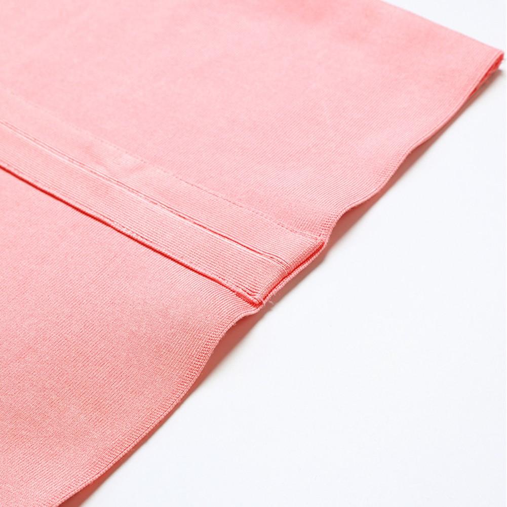 Rayon - Pink Strapy Sleeveless Mini Stripe Decorated Fashion Bandage Dress H0035-Pink