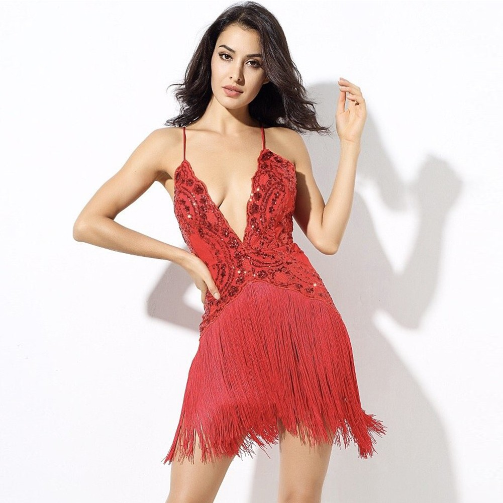 Rayon - Red V Neck Sleeveless Mini Tassels Lace Up Evening Bandage Dress H0041-Red