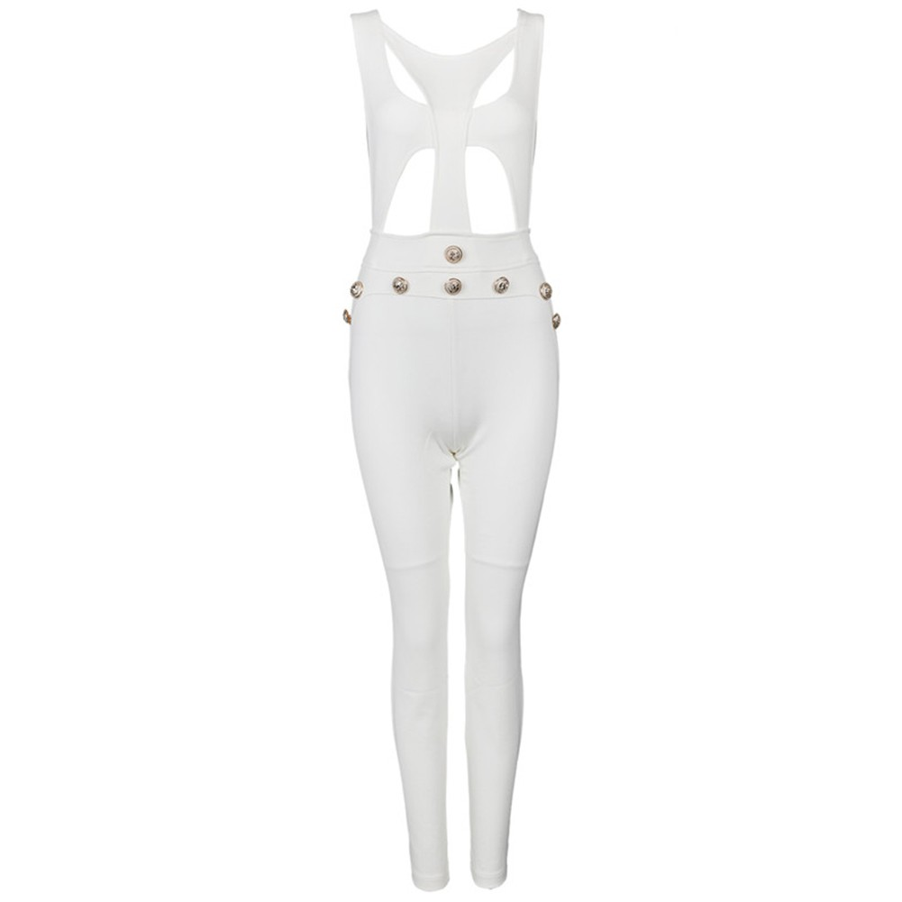 Rayon - White Strapy Short Sleeve Maxi Tie Metal Studded Evening Bodycon Jumpsuits H0044-White