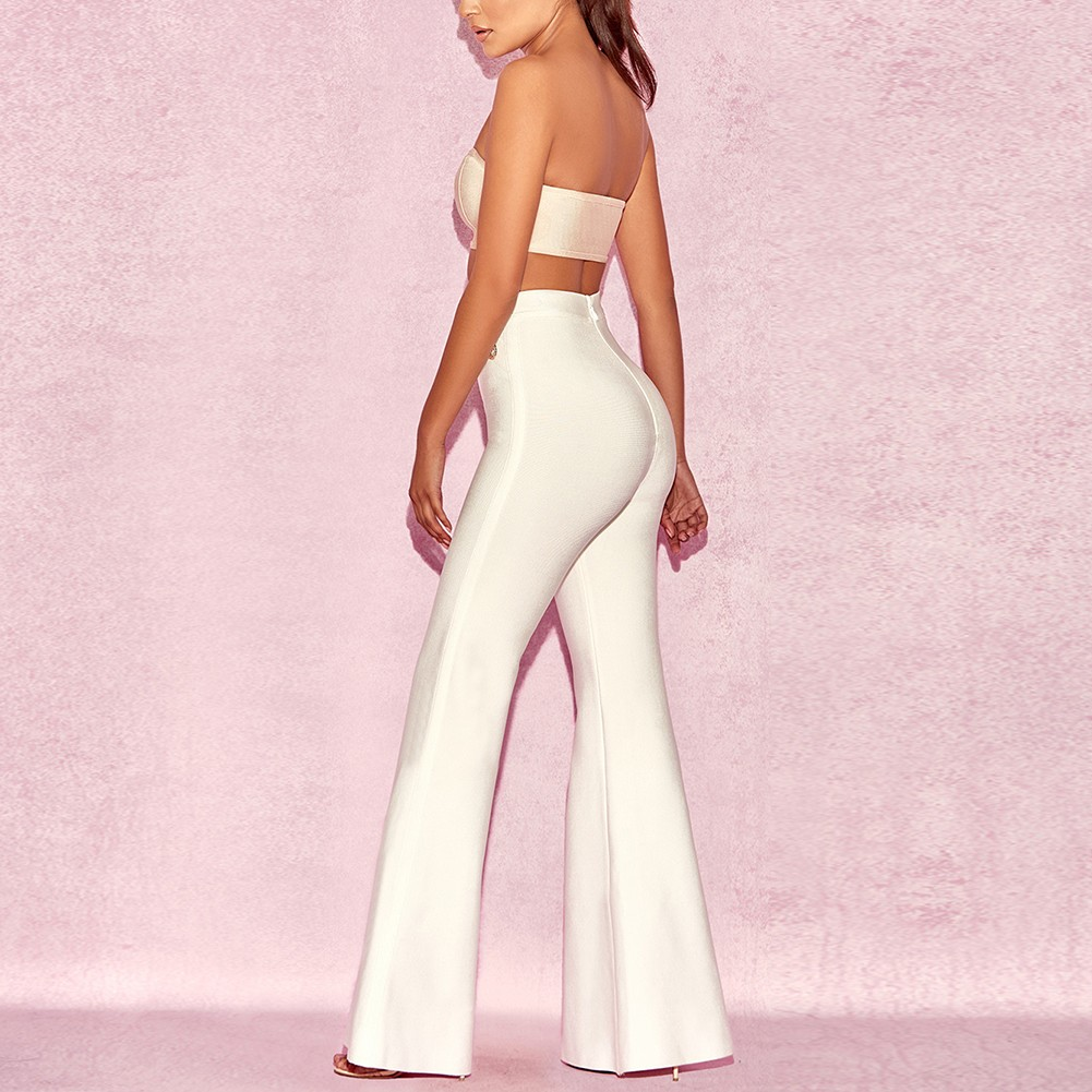 Rayon - White Maxi Button High Waist Fashion Bandage Pants H0059-White