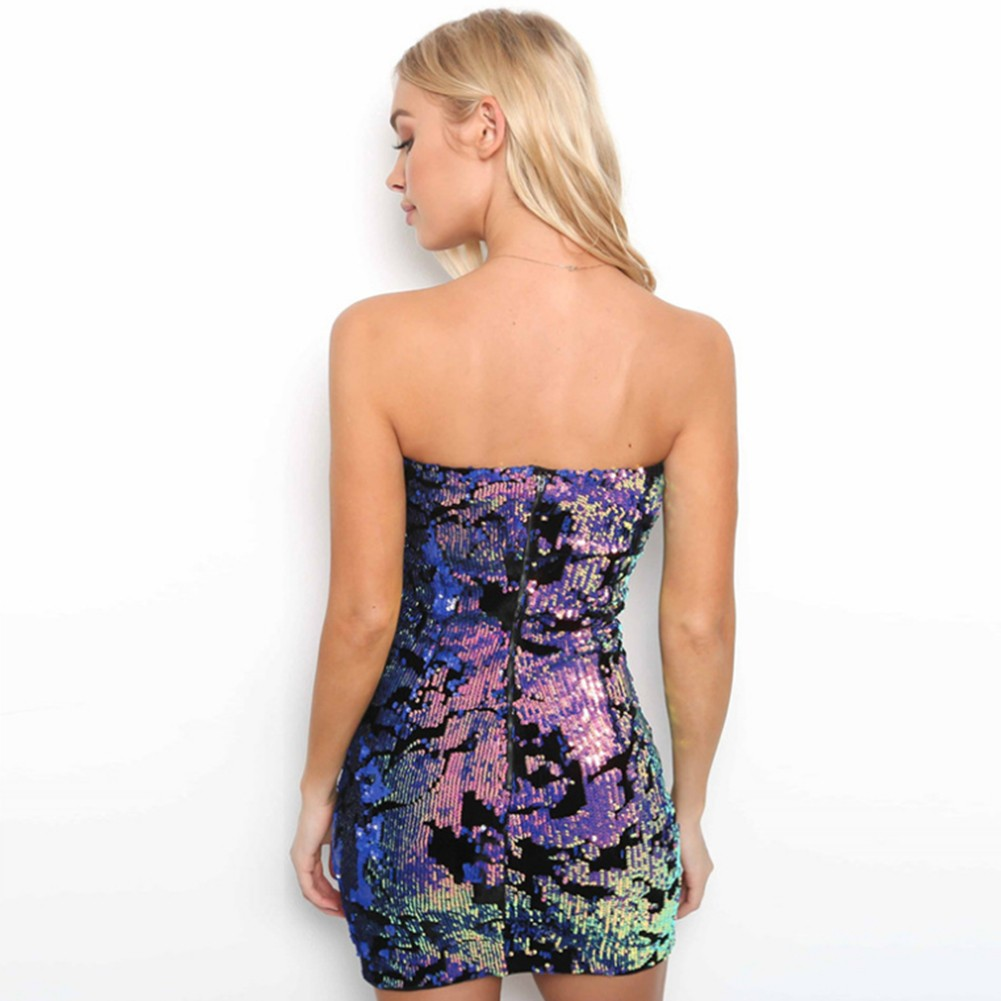 Rayon - Purple Strapless Sleeveless Mini Sequins Party Bodycon Dress H0076-Purple
