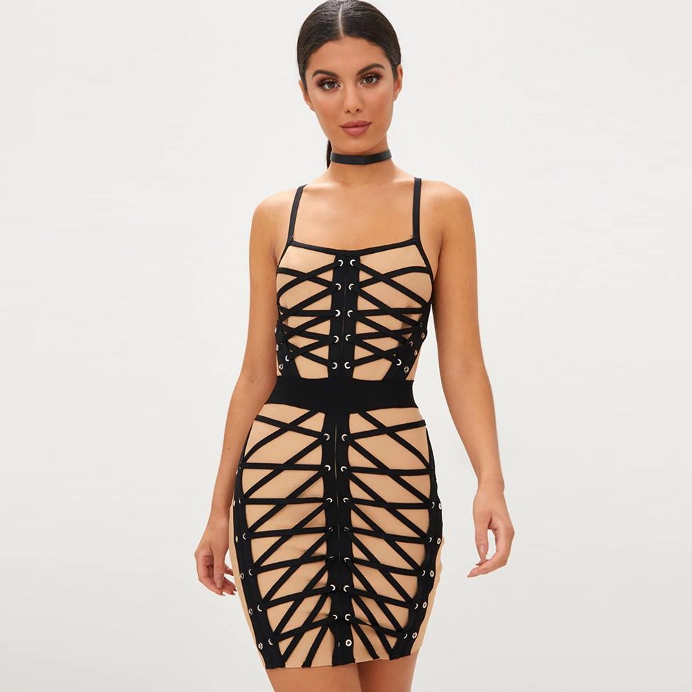 Rayon - Nude Strapy Sleeveless Mini Mesh Evening Bodycon Dress H0081-Nude