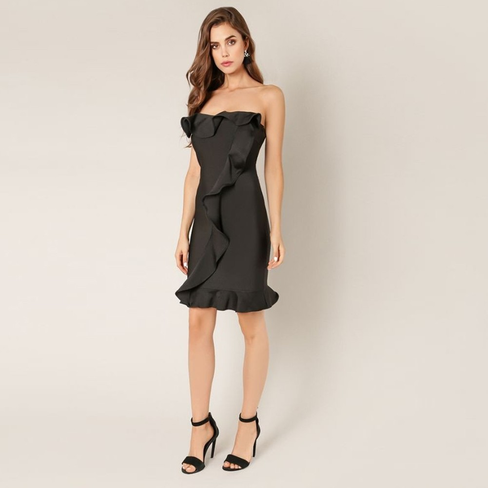 Rayon - Black Off Shoulder Sleeveless Mini Ruffles Backless Bodycon Dress H0095-Black