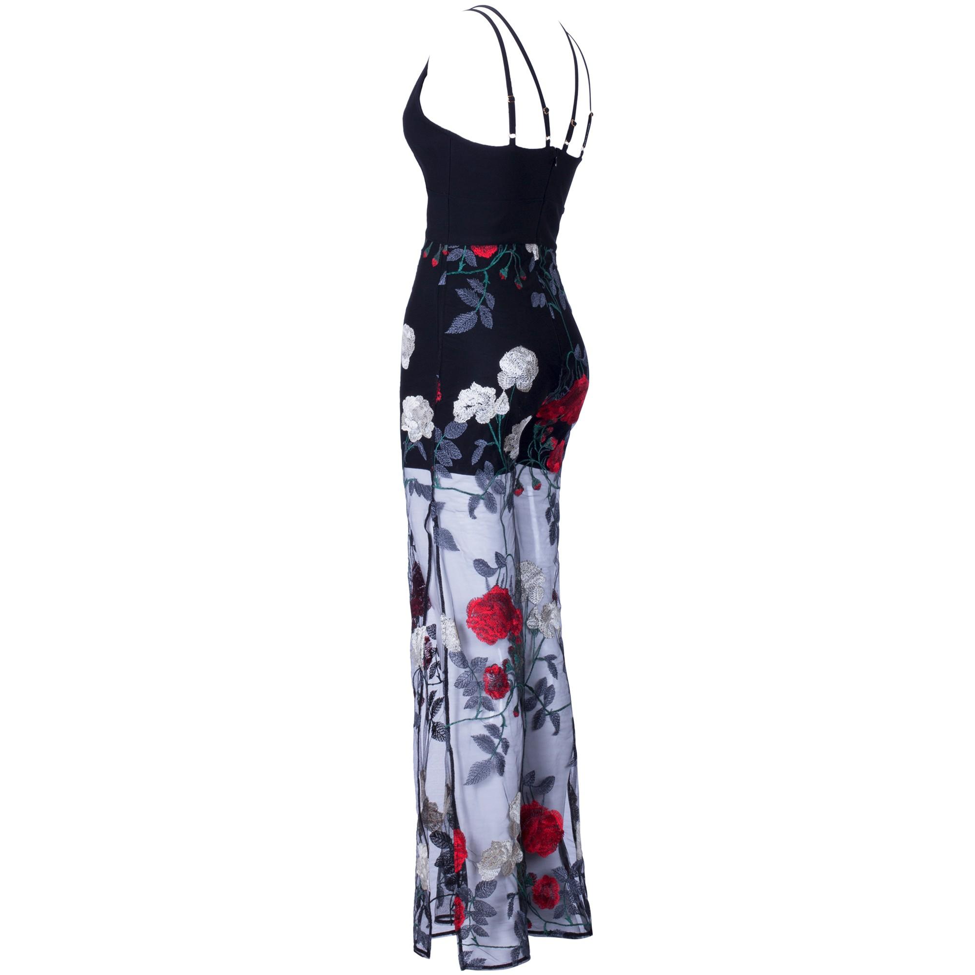 Rayon - Black V Neck Sleeveless 2 Piece Flower Mesh Pants Sexy Bandage Jumpsuit H0097-Black