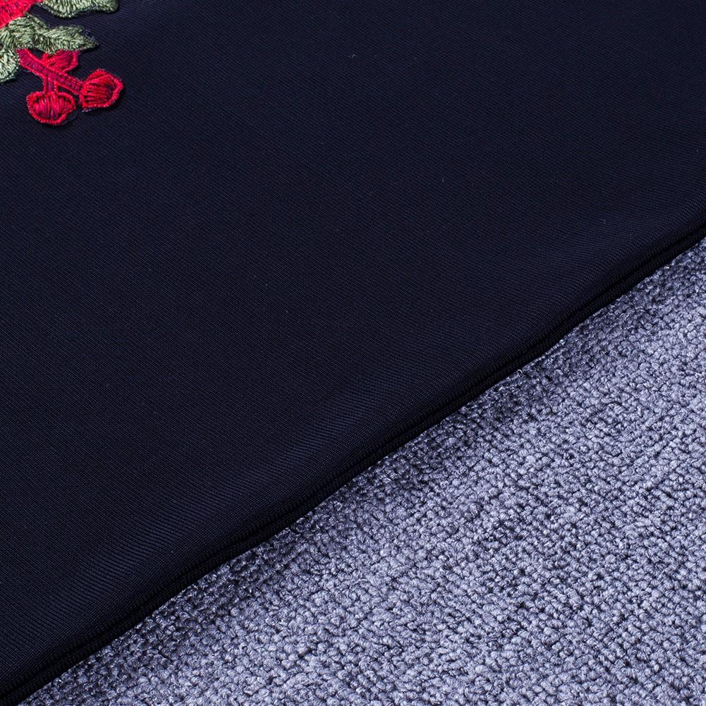 Rayon - Black Halter Sleeveless Mini Flower Embroidery Beaded Waistline Backless Bandage Dress H0098-Black