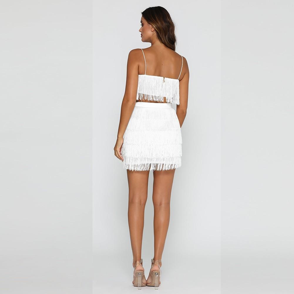 Rayon - White Strapy Sleeveless 2 Piece Tassel Evening Bandage Dress H0101-White