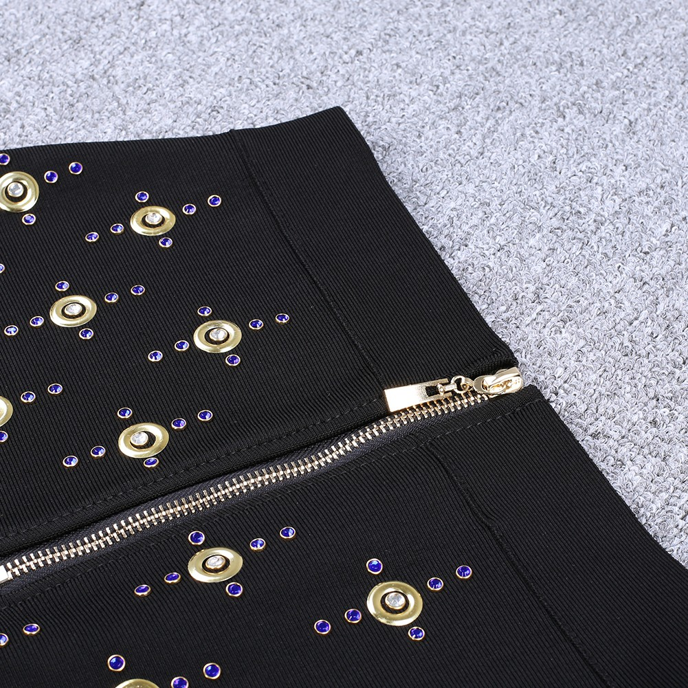 Rayon - Black Strapy Sleeveless 2 Piece Crap Top Pearl Beaded Skirt High Quality Bandage Set H0102-Black