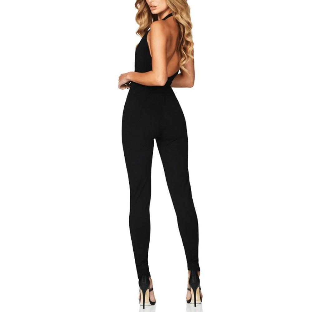 Rayon - Black Halter Sleeveless Maxi Backless With Belt New Bandage Jumpsuit H0105-Black