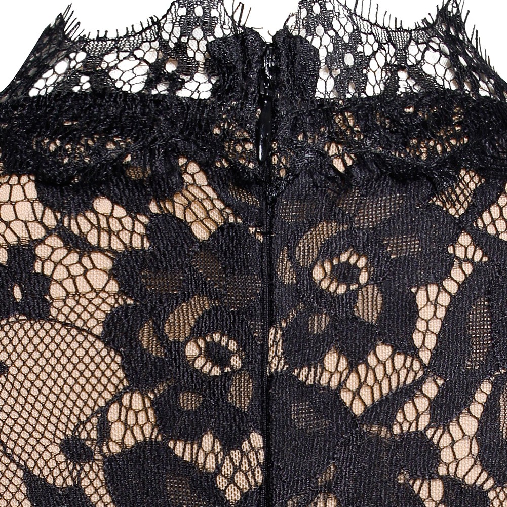 Rayon - Black V Neck Cap Sleeve Maxi Lace Belted Best Quality Bandage Jumpsuit H0106-Black