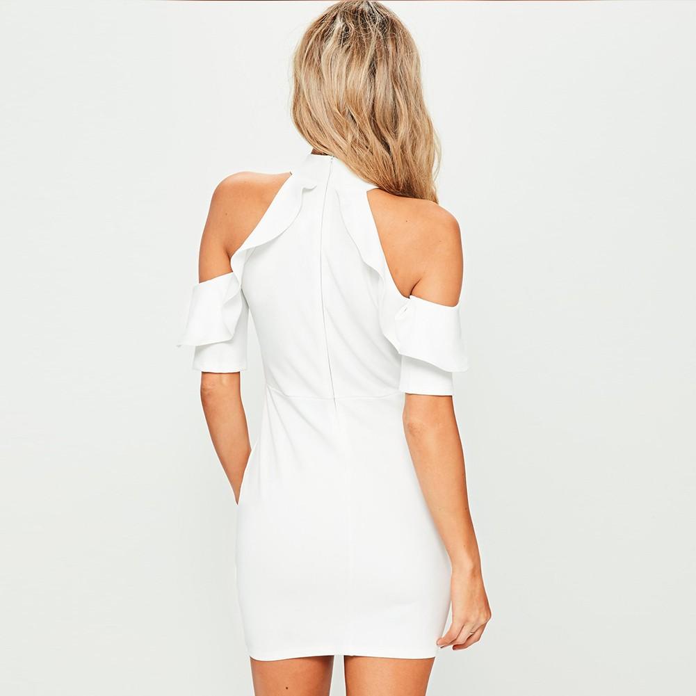 Rayon - White High Neck Mid Sleeve Mini Scolloped Plain Good Quality Bandage Dress H0109-White