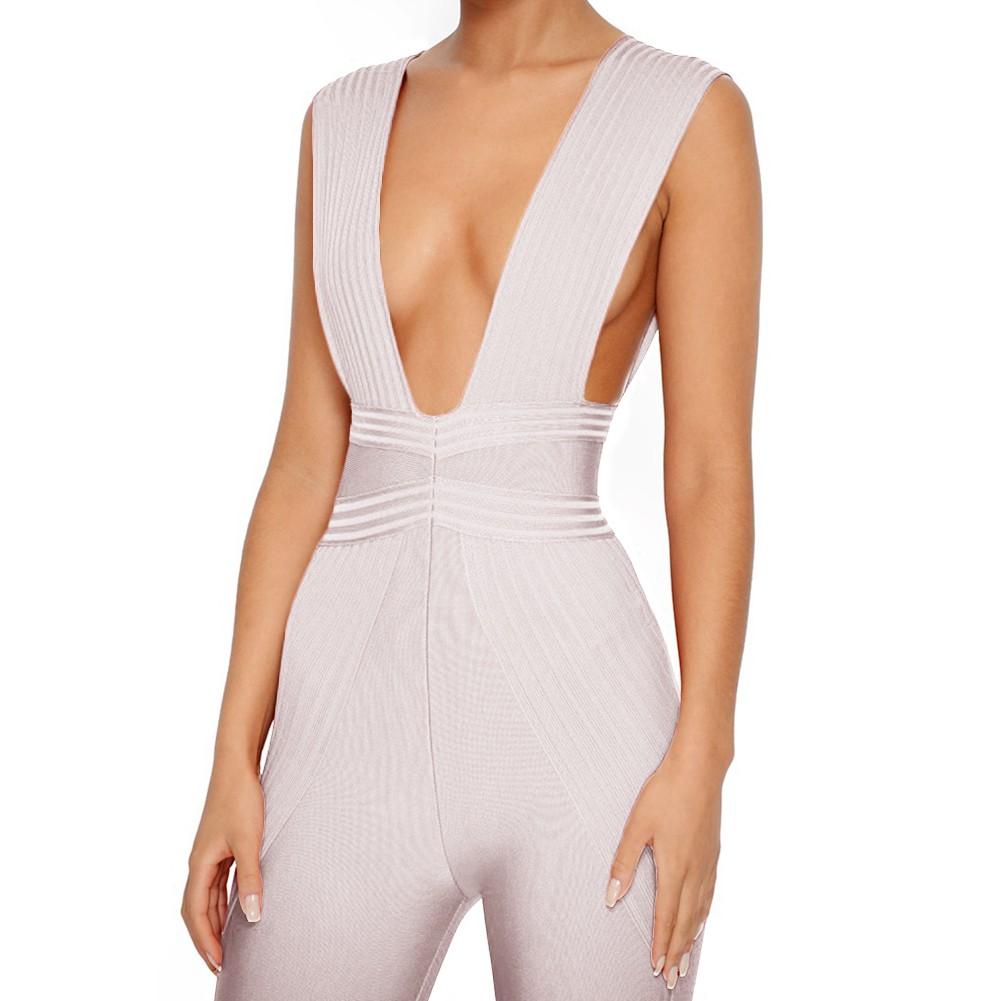Rayon - Nude V Neck Sleeveless Maxi High Quality Bandage Jumpsuits H0111-Nude