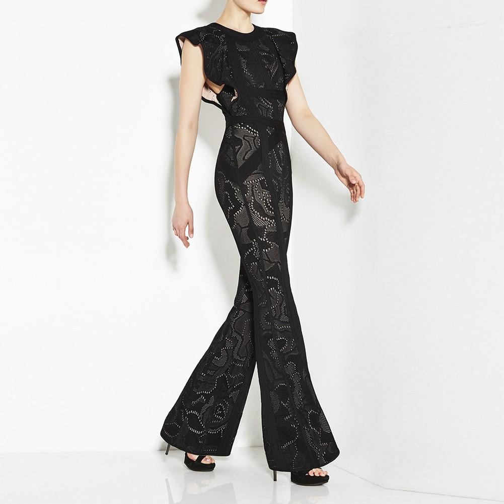 1:1 HL Quality - Black Round Neck Sleeveless Maxi Jacquard Printing Heavy Bandage Dress H1264-Black