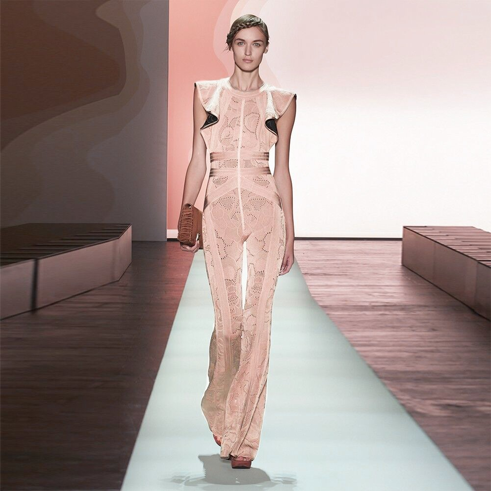 1:1 HL Quality - Pink Round Neck Sleeveless Maxi Jacquard Printing Heavy Bandage Dress H1264-Pink