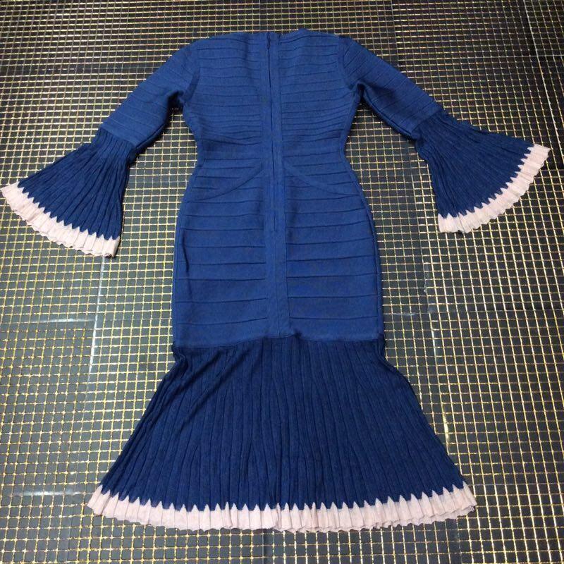 1:1 HL Quality - Navy Blue V Neck Long Sleeve Over Knee Lace Party Bandage Dress H1611-Navy Blue
