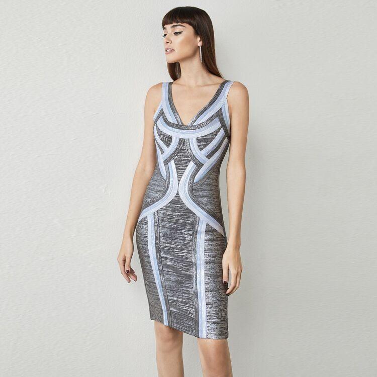 1:1 HL Quality - Bronze Strapy Sleeveless Mini Foil Printing Party Bandage Dress H1614-Bronze