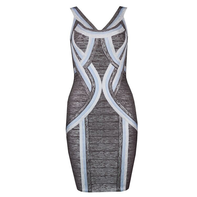 1:1 HL Quality - Bronze Strapy Sleeveless Mini Foil Printing Party Bandage Dress H1614-Bronze