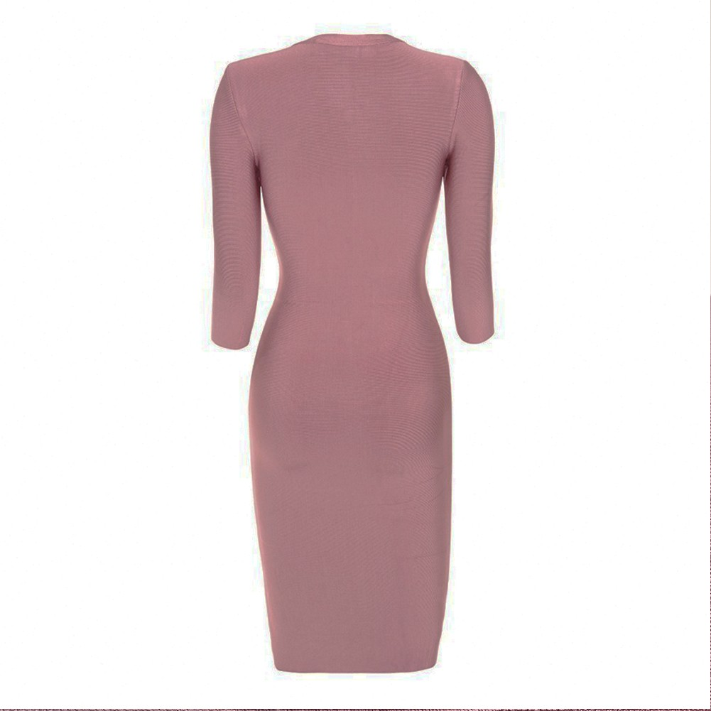 V Neck Mid Sleeve Over Knee Pink High Quality Bandage Dress H988-Pink