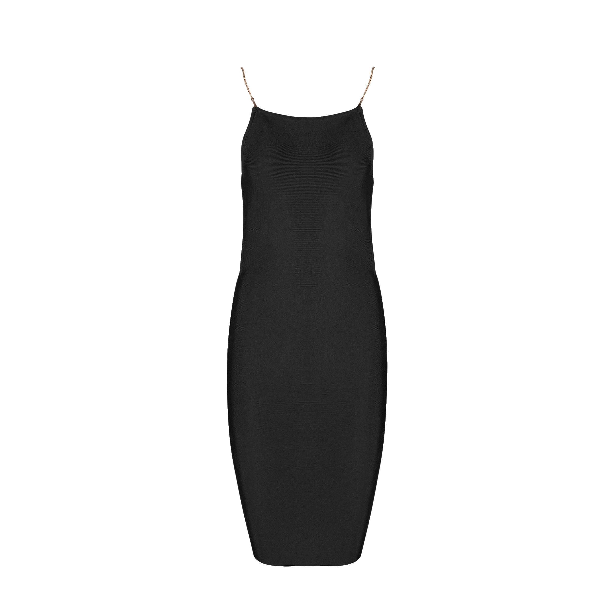 Black Strapy Sleeveless Mini Backless Plain Summer Bandage Dress HB1007-Black
