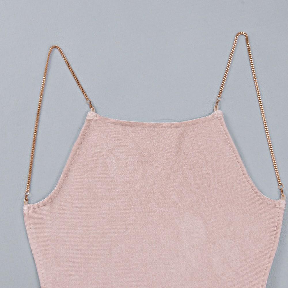 Nude Strapy Sleeveless Mini Backless Plain Summer Bandage Dress HB1007-Nude