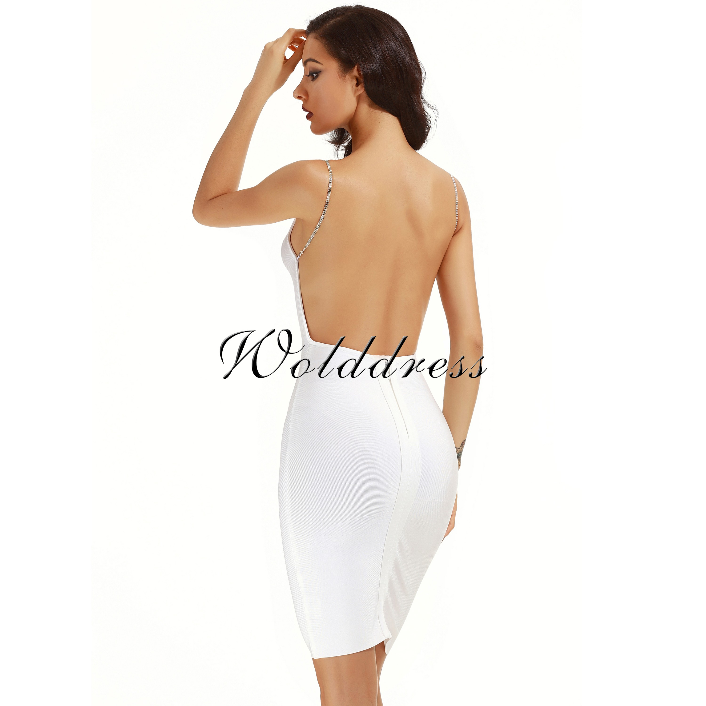White Strapy Sleeveless Mini Backless Plain Summer Bandage Dress HB1007-White