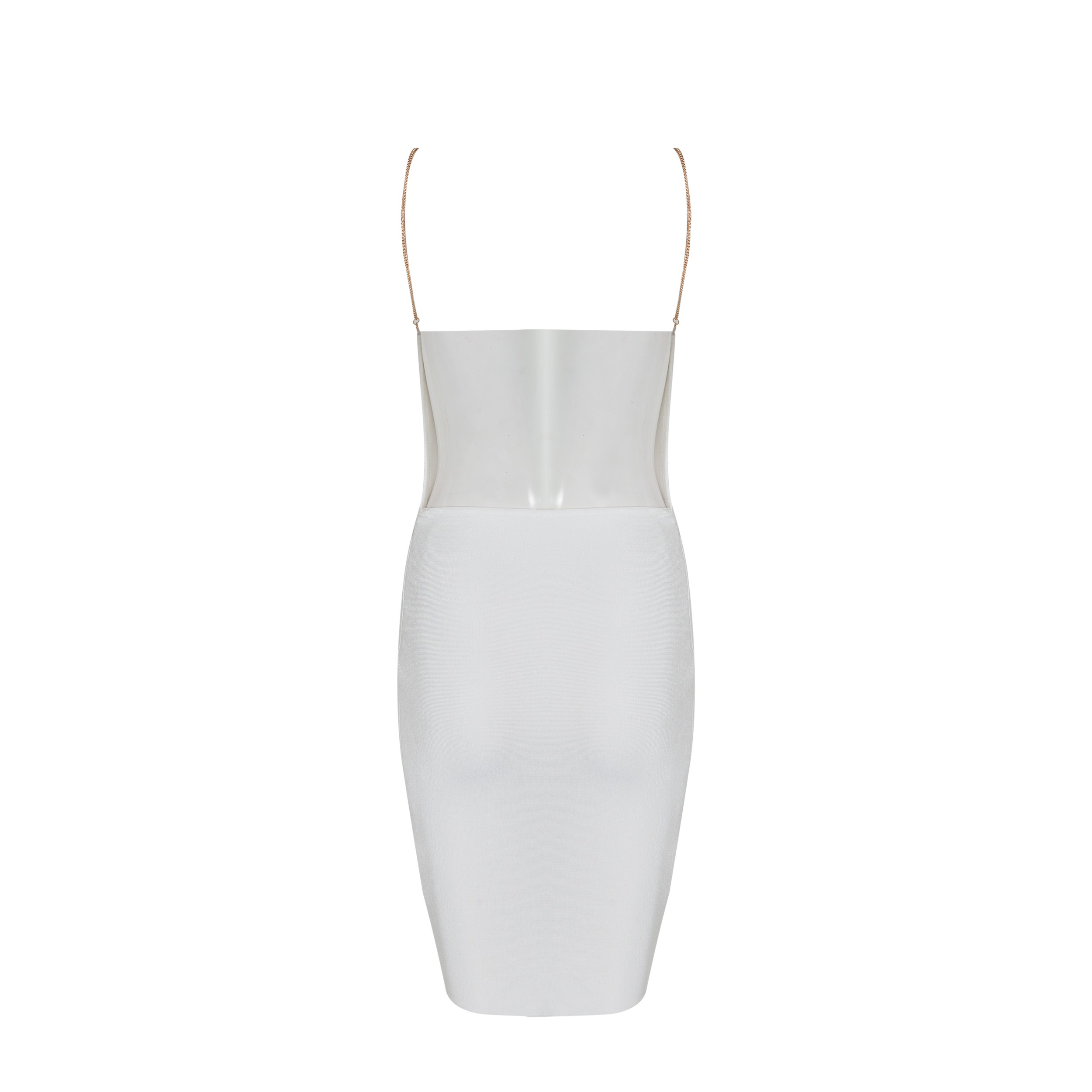 White Strapy Sleeveless Mini Backless Plain Summer Bandage Dress HB1007-White