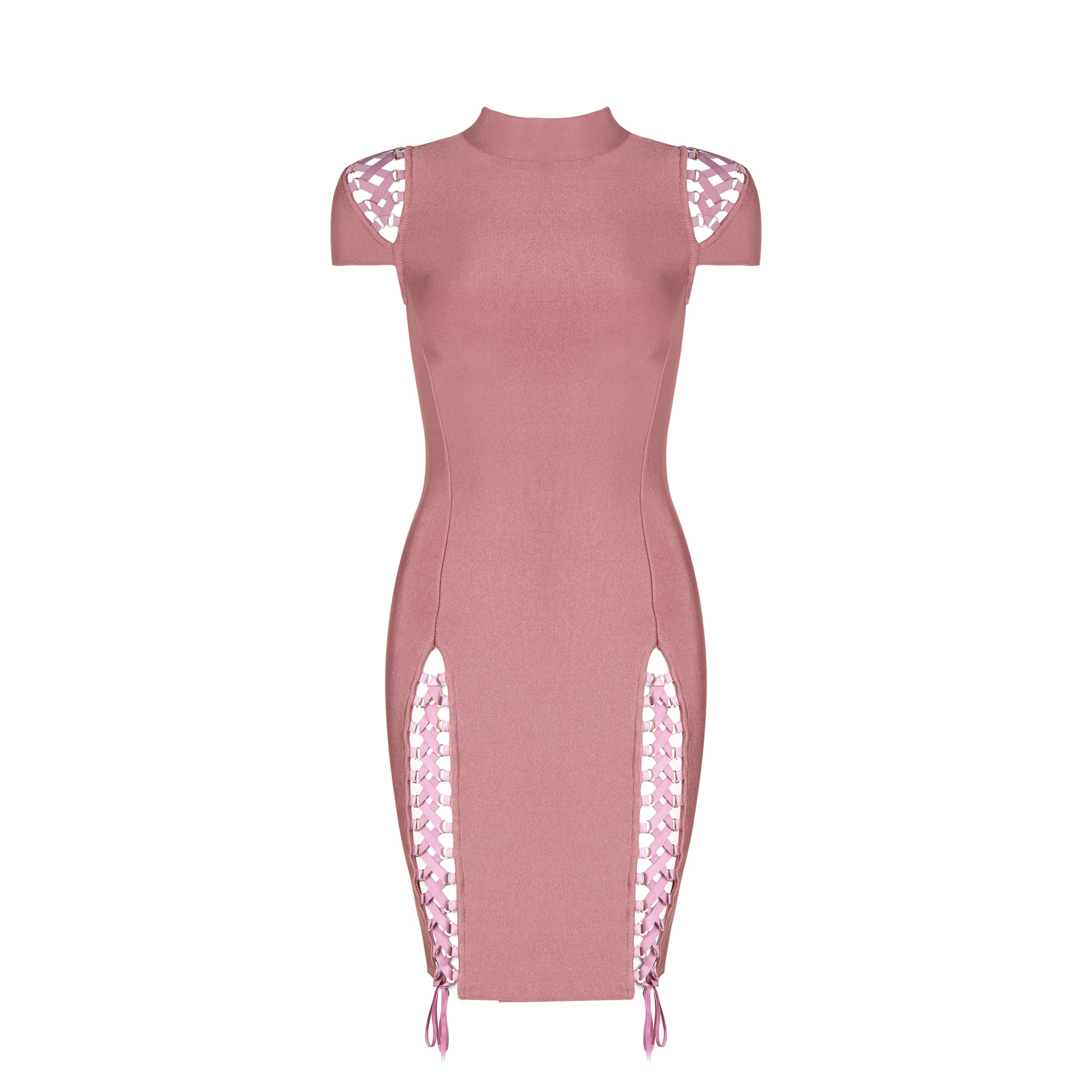 Peach High Neck Cap Sleeve Mini Lace Up Sexy Bandage Dress HB1016-Peach