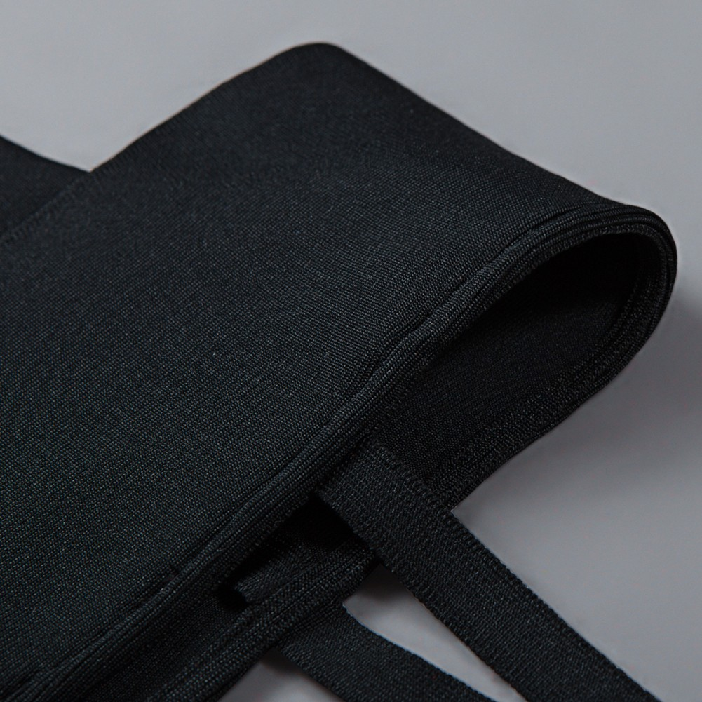 Black Strapy Sleeveless Knee Length Deep V Sexy Bandage Dress HB1060-Black