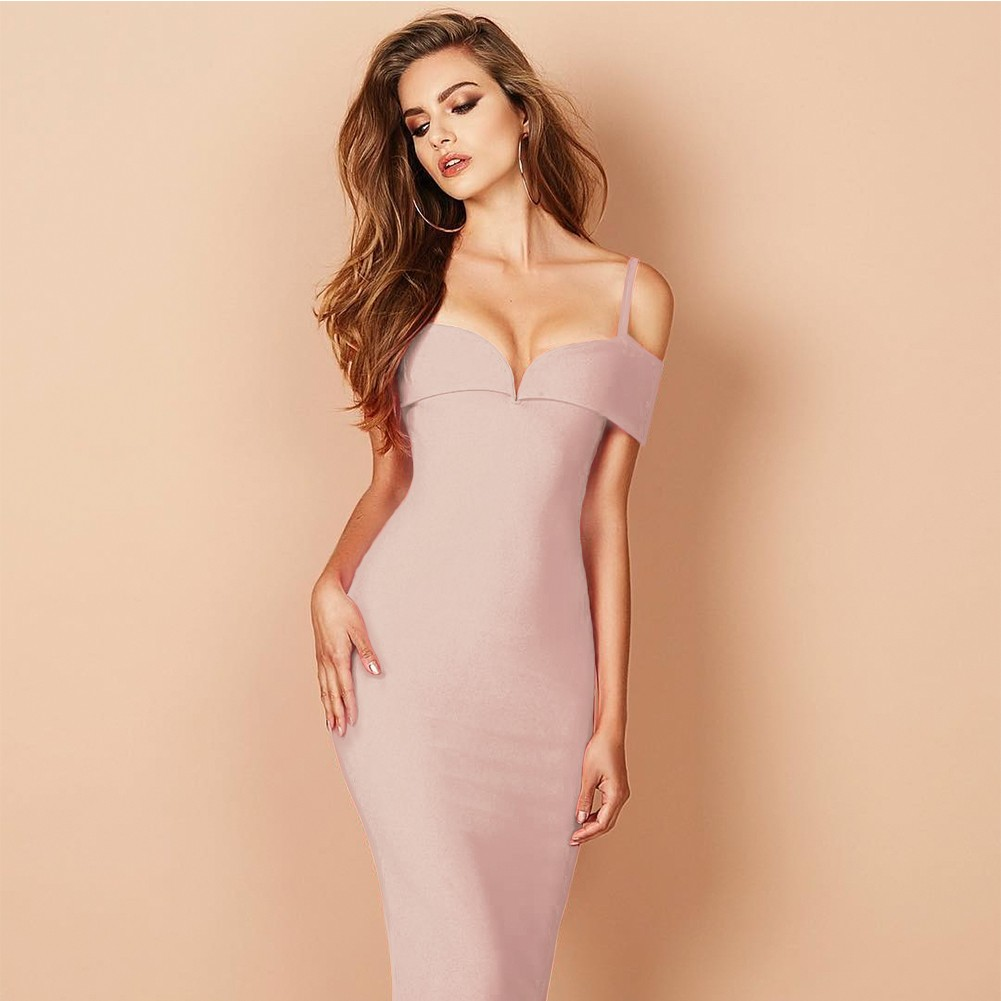 Nude Strapy Sleeveless Knee Length Deep V Sexy Bandage Dress HB1060-Nude