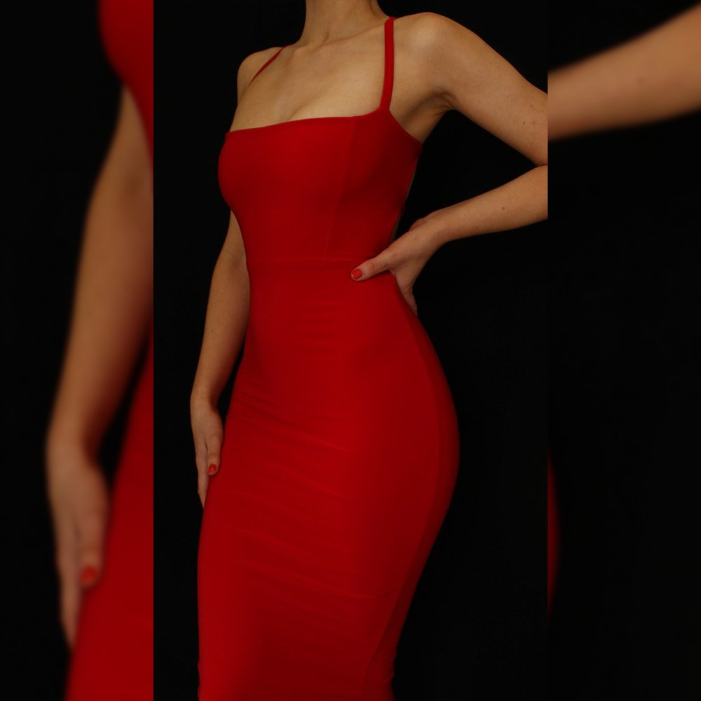 Red Strapy Sleeveless Knee Length Lace Up Fashion Bandage Dress HB1070-Red