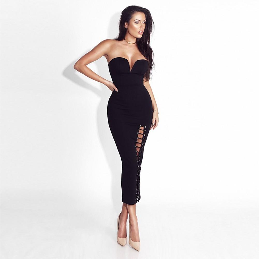 Black Off Shoulder Sleeveless Over Knee Cut OutEvening Bandage Dress HB1082-Black