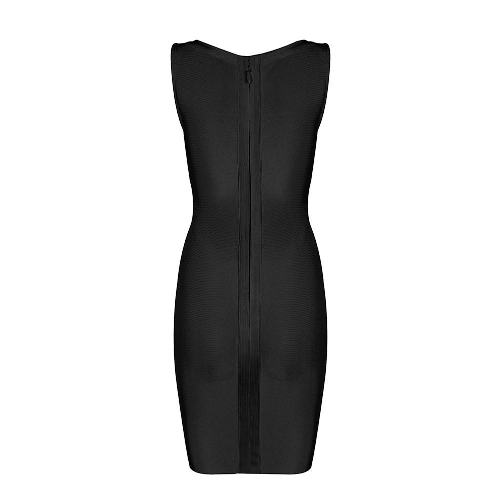 Black V Neck Sleeveless Mini Lace Up Deep V Sexy Bandage Dress HB1085-Black
